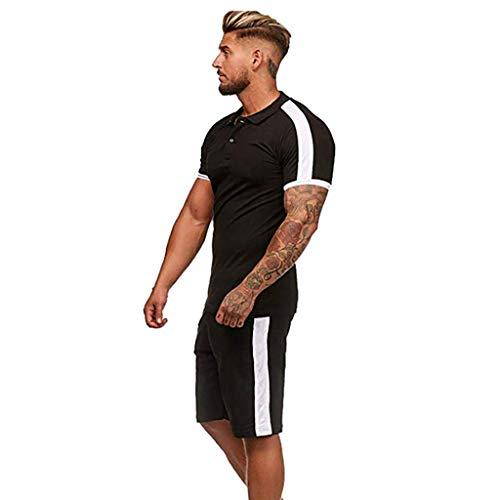 XUEBing Conjuntos de verano para hombre de 2 piezas conjuntos de deportes top y pantalones cortos conjunto de ocio manga corta deportes conjuntos delgados gimnasio chándal
