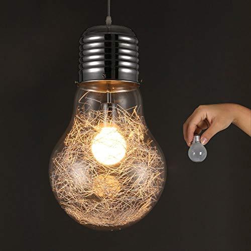 Colgante de cristal Techo industrial retro vintage, Luces colgantes de bombilla súper grande, Luz colgante E27, Ø22cm