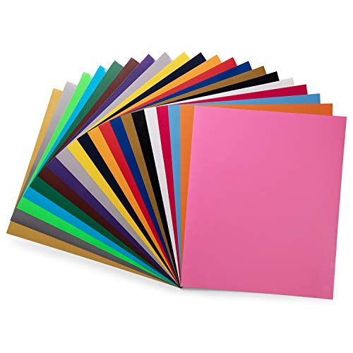 PU HTV Vinyl Bundle 20 Pack 20 Assorted Colors 12'x 10' Sheets, Iron On Heat Transfer Vinyl for Cricut & Silhouette Cameo, Easy to Cut & Weed Adhesive Vinyl for Design DIY T-Shirts and Clothes