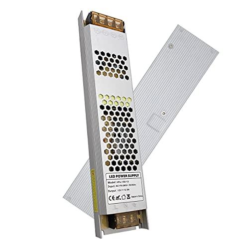 VARICART Activador LED IP20 12V 12,5A 150W, Ultra Fino Universal Potencia Conmutable AC DC, Transformador de Voltaje Constante Adaptador para Cámara CCTV Tira de Luz G4 MR16 GU5.3 Bombilla (Pack de 1)