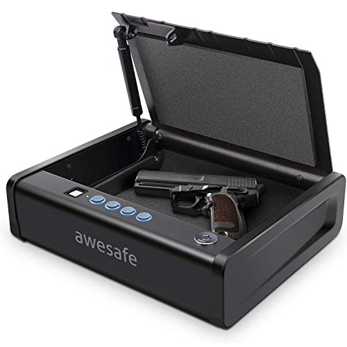 awesafe Gun Safe with Fingerprint Identification and Biometric Lock One Handgun Capacity