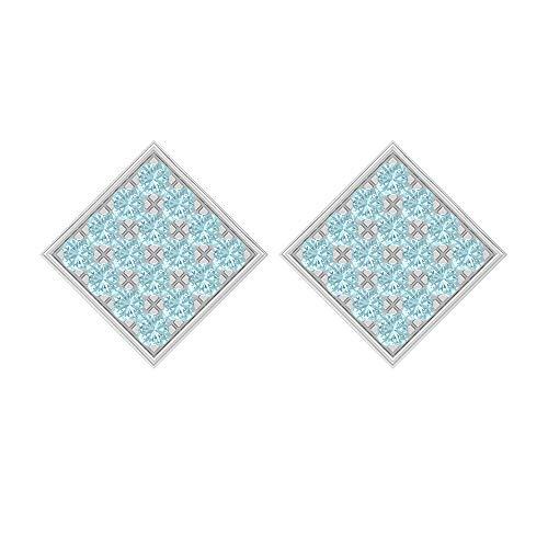 Pendientes cuadrados, 1,60 quilates, forma redonda de 2 mm, topacio azul cielo, pendientes de racimo, joyas de oro macizo, pendientes de tuerca para mujer, tornillo hacia atrás