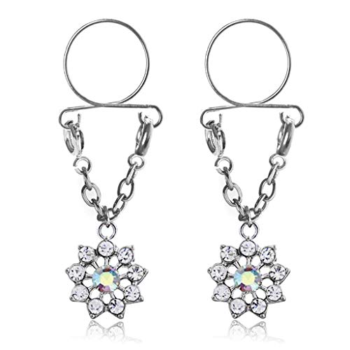 niumanery 2pcs Non Pierced Nipple Piercing Women Lady Body Jewelry Floral Pendant Ring Chain Sexy Fashion Rhinestone Adjustable Breast Fake 5 Colors Optional Colorful