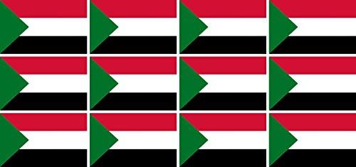 Mini Aufkleber Set - Pack glatt - 50x31mm - Sticker - Sudan - Flagge - Banner - Standarte fürs Auto, Büro, zu Hause & die Schule - 12 Stück