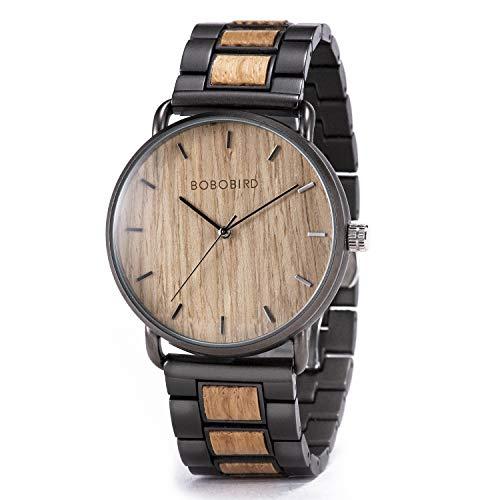 Relojes de madera para hombre, Naturaleza hechos a mano hombres de madera Wrirtwatch acero inoxidable analógico de cuarzo vestido casual relojes perfectos para papá/hijo/novio/marido