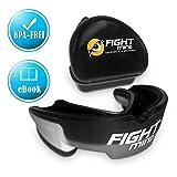 Fight Mind Defender Protège-Dents Professionnel - Protection buccale pour Boxe, Arts Martiaux, Football, MMA, Kickboxing, Muay Thai   + Guide Exclusif + Garantie de Satisfaction  , Noir, Adult (+11)