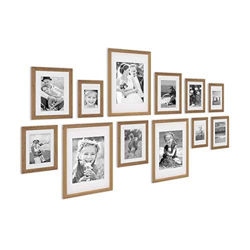 PHOTOLINI 12er Bilderrahmen-Set Modern Tief Eiche Massivholz mit Passepartout / 10x15, 13x18, 15x20 und 21x30 cm/Fotorahmen/Portraitrahmen/Wechselrahmen