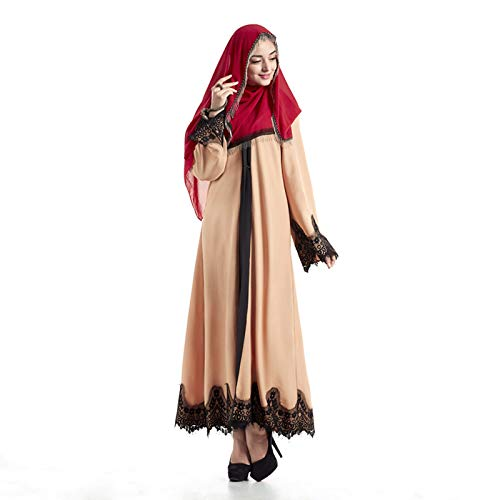 Elegant Women Muslim Abaya Dress Cardigan Robe Turkish Hijab Islamic Clothing Split Dresses Khaki