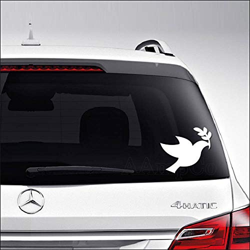 Aampco Decals Dove Bird Peace Olive Branch Car Truck Motorcycle Windows Bumper Wall Decor Vinyl Decal Sticker Size- [6 inch/15 cm] Wide/Color- Matte White