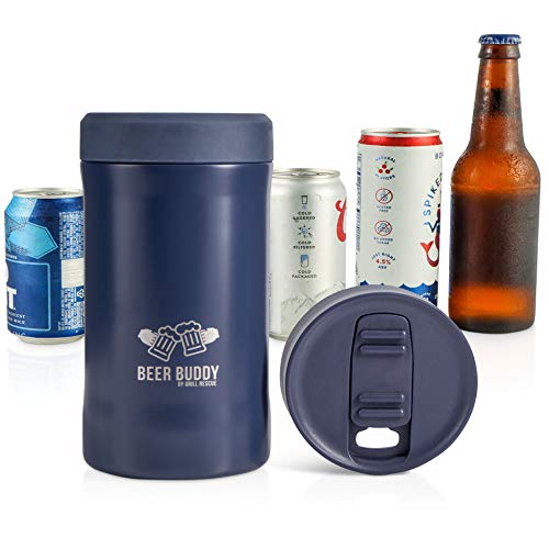 Beer Buddy Insulated Can Holder – Vacuum-Sealed Stainless Steel – Beer Bottle Insulator for Cold Beverages – Thermos Beer Cooler Suited for Any Size Drink - One Size Fits All (Matte Blue)