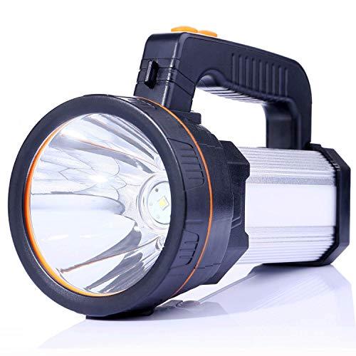 ALFLASH Linterna de antorcha LED recargable de alta potencia 7000 lúmenes Super brillante Impermeable IPX4 Proyector de mano al aire libre Linterna Proyector LED portátil, 9000mAH (Plata 5 modelos)