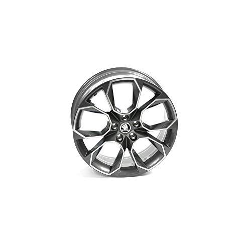 Skoda 5E0071499HA7 Llanta de aluminio RS 19 pulgadas Tuning Sport X-trem Llanta 7,5JX19 ET51 5x112 Llanta de metal ligero antracita metalizado