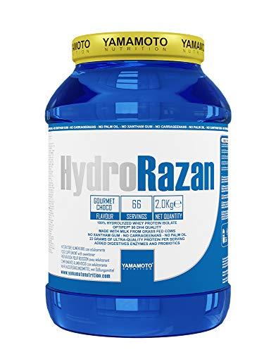 Yamamoto Nutrition Hydro RAZAN new formula integratore alimentare a base di proteine del siero del latte idrolizzate Optipep 90 con aggiunta di probiotici ed enzimi digestivi gusto Cioccolato 2000 g