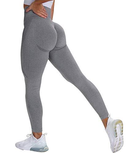 DUROFIT Mallas de Deporte Pantalones de Yoga Leggings Mujer Fitness Push Up Cintura Alta Elasticos para Jogging Training Fitness Gris S