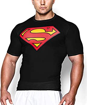GYM GALA Superman t Shirt Short Sleeve Casual and Sports Compression Shirt  Large Black
