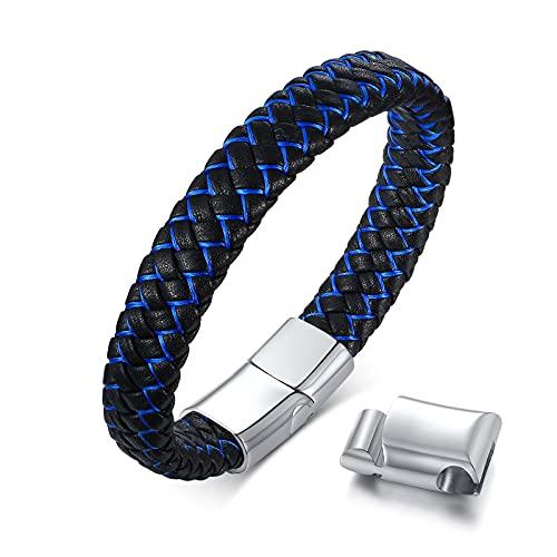 Gamtic Bracciale Uomo Donna Pelle : Bracciali Cuoio Classico con Serratura Magnetica in Acciaio Inossidabile 316L & Regolabile Maglie Extra (Blue)