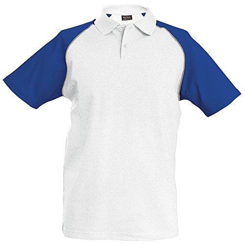 Kariban - Polo de baseball à manches courtes - Homme (2XL - 112/117cm) (Blanc/Gris clair/Bleu roi)
