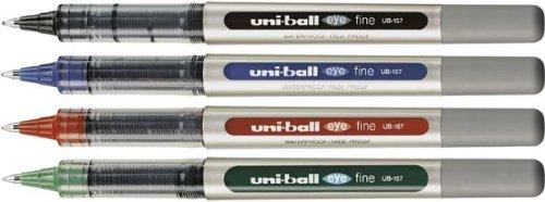 4 Farben Tintenroller uni-ball® eye Basic Set fine, Mine 0,4 mm, Feinlinerset dokumentenecht, lichtecht und wischbeständig