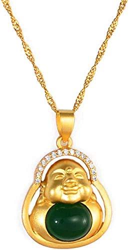 Yiffshunl Collar Collar de Piedra Verde Collares con Colgante de Buda Woamulet Elementos de Estilo de la Cultura China Collar Joyas Collar de 45Cm Regalo