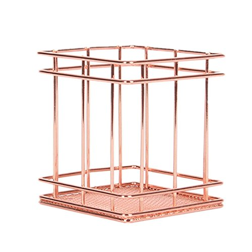 AmaMary88 Pencil Holder Metal Pen Pencil Holder Oval Shape Desk Stationery Organizer Wired Mesh Design Rose Gold For Office Home School (square)