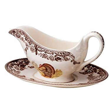 Spode Woodland Turkey Sauce Boat and Stand