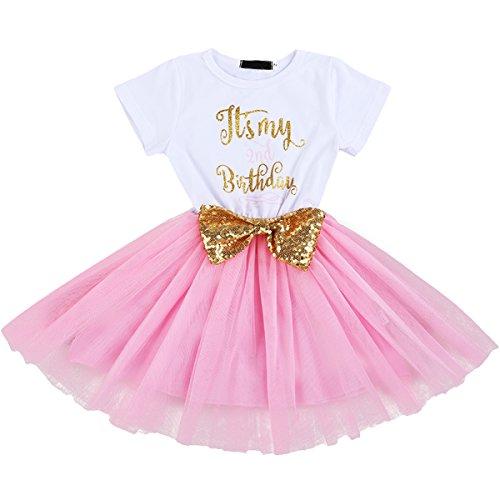 FYMNSI Baby Säugling Mädchen Es ist Mein 1. / 2. Geburtstag Party Kleid Outfit Kurzarm Tütü Tüll Prinzessin Geburtstagskleid mit Pailletten Schleife Stirnband...