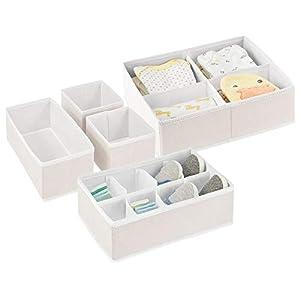mdesign soft fabric dresser drawer and closet storage organizer set for child/baby room or nursery – set of 5 organizers – cream/white