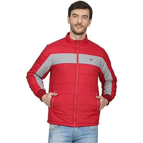 Monte Carlo 220050223-2 Men's Printed Polo Collar Jacket (Red, 38)