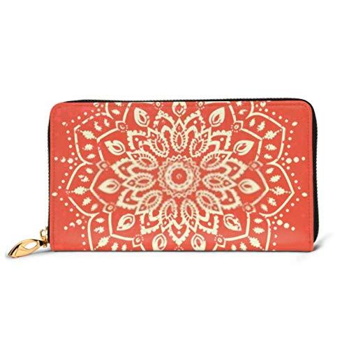 Fashion Handbag Zipper Wallet Ornament Black White Card Mandala Geometric Phone Clutch Purse Evening Clutch Blocking Leather Wallet Multi Card women handbag Organizer