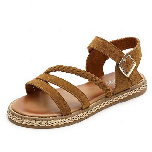 Women Sandals Joker, Sandales Plates, Biscuits, Chaussures pour Dames à la Semelle Épaisse avec de Confortables Chaussures pour Femmes à Tête Ronde, Brown, 40