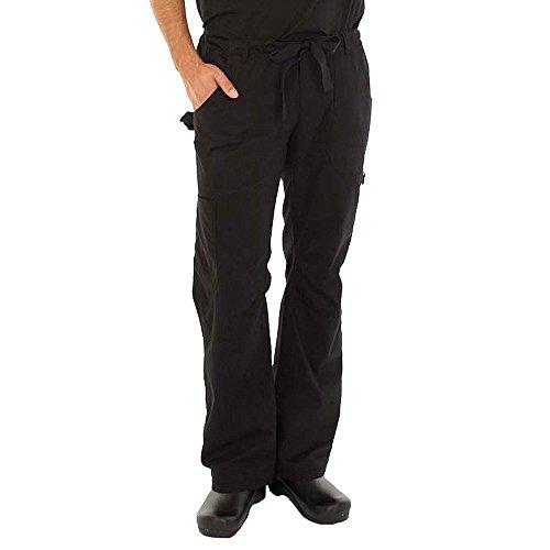 KOI Men's Big James Elastic Scrub Pants with Zip Fly and Drawstring Waist, Black, Large/Tall