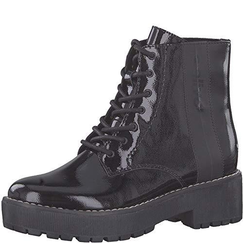 s.Oliver Damen Stiefel 25221-23, Frauen Schnürstiefel, Women Woman Freizeit leger Boots Combat schnürung Damen Frauen,Black PATENT,40 EU / 6.5 UK