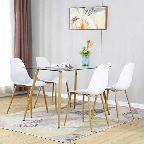 Modern Dining Table Set for 4 Person, 5 Pieces with Rectangle Tempered Glass Top and 4 Plastic Kitchen Room Chairs, Dining Room Table and Chairs Set for Home and Small Space (Table + 4 White Chairs)