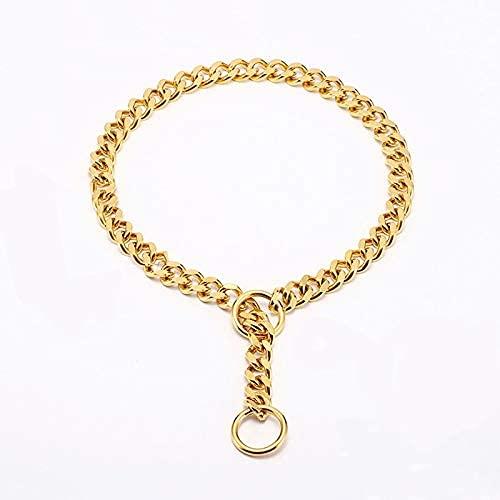 WSYGHP Collar de perro de acero inoxidable chapado en oro de 18 quilates con asa acolchada para perro de pastor alemán correa de metal accesorios para mascotas para perros grandes, correa de perro