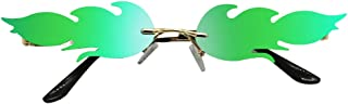 LR Fire Flame Sunglasses for Women Men Wave Stylish Designer Sun Glasses Rimless Ins Style (Green)