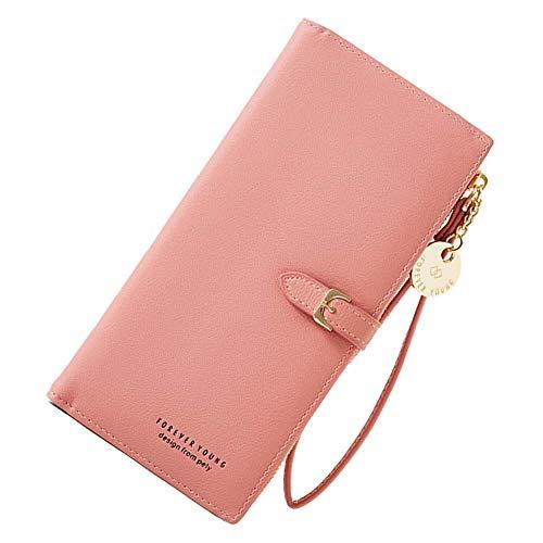 Coopay Portemonnaie Mädchen,Brieftasche Einfache Stil Groß Kapazität,Portmonee mit Reißverschluss,Clutch Kunstleder,Geldbeutel Handy für Huawei P10 P20 Lite P30 Y6 / P Smart+ Mate 20 Honor 10 - Pink