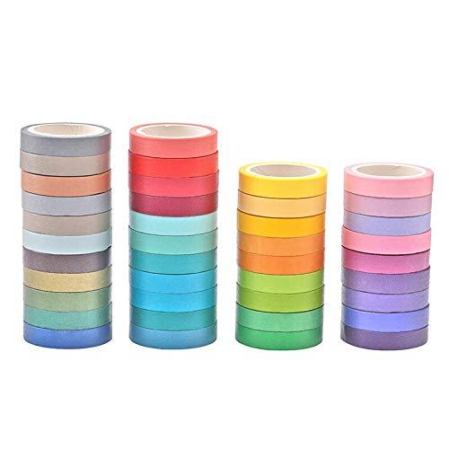 Washi Cinta,Washi Tape 40 Rolls Cintas Decorativas de Scrapbook Rainbow Adhesiva Cinta de Enmascarar para Scrapbooking DIY Manualidades 8mm