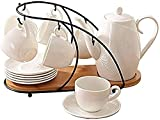 Tea Coffee Cup Set 14 Pieces Glazed Porcelain Coffee And Tea Service Set With Cup Holder 6 Piece Cups And Teapot Tray Afternoon Tea Drinkware Coffee Set A Smooth Surface