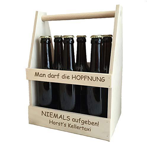Holz-Männerhandtasche/Bierträger - mit kostenloser Gravur | mit Spruch Hopfnung | Geburtstagsgeschenke | Biergeschenke (Hopfnung)