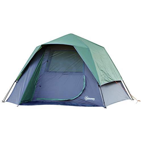 Outsunny Tienda de Campaña para 3-4 Personas Fácil de Desplegar Diseño 2 en 1 Pop-up con Gancho para Luz de Camping 270x250x160cm Verde
