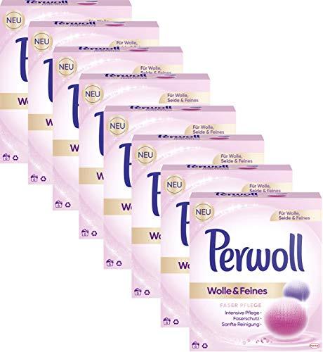 Perwoll 8er Pack Wolle & Feines, Faser Pflege Pulver für Wolle, Seide und Feines, 48 (8x6) Waschladungen