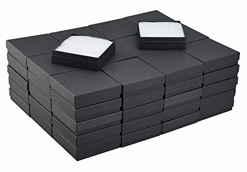 JPB Matte Black Cotton Filled Jewelry Box #33 (Case of 100) 3.5 inches x 3.5 inches