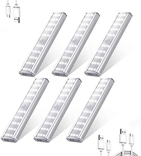 Luces 30 LED Armario con Sensor Movimiento,Funciona con Batería de Iluminación con Tira Magnética Pegada,Auto Encendido/Apagado Luz Nocturna,Luz Cálida Para Armario,Pasillo,Escalera,Sótano,6 Unidades
