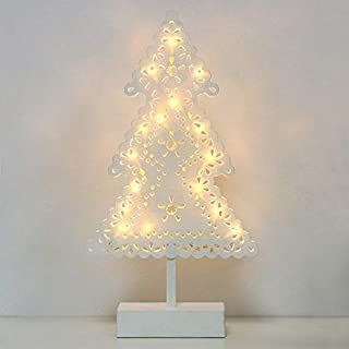 Christmas Tree Shape With Best Design, Mini Christmas Tree Shape Table Lamp Decoration Frame Star Led String - Small Decorative Glass Balls, White Ornament Display Tree, Heart Lights Decoration