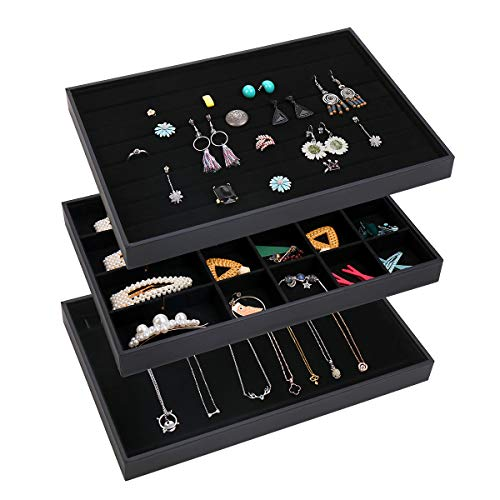 TekkPerry Stackable Velvet Jewelry Trays Organizer,Jewelry Trays for Drawers,Jewerly Drawer Organizers for Earring Necklace Bracelet Ring Display Storage,Set of 3 (Black-3 PCS)
