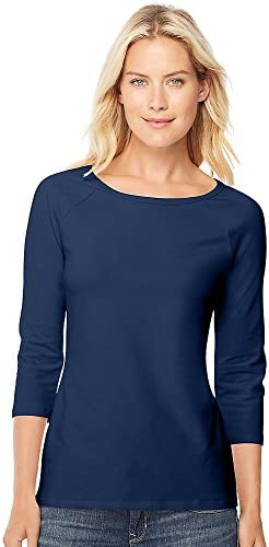 Hanes Stretch Cotton Women s Raglan Sleeve Tee Navy S product image