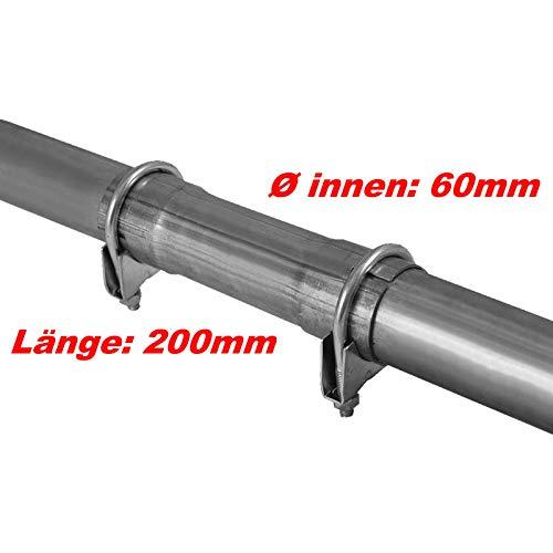 Raccord de tuyau - Diamètre : 60 x 200 mm - Raccord de tuyau avec élargissement - Collier de réparation universel - Système d'échappement