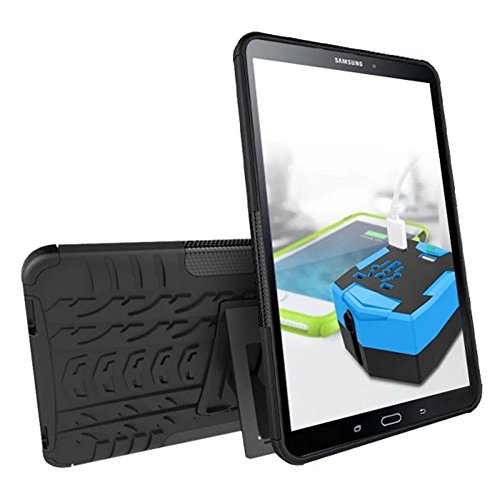 Galaxy Tab A 10.1 Case,SUNWAY Hybrid 2 In 1 Kick stand Rugged Tough Strong [High Impact] Shockproof Hard Silicone Rubber Dual Layer Protective Cover Case for Samsung Tab A 10.1 T580/T585,Black