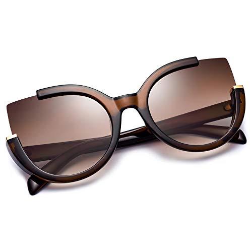 Mosanana Gafas de sol de ojo de gato de gran tamaño para las mujeres de moda estilo retro MS51807, marrón (Marrón), Medium