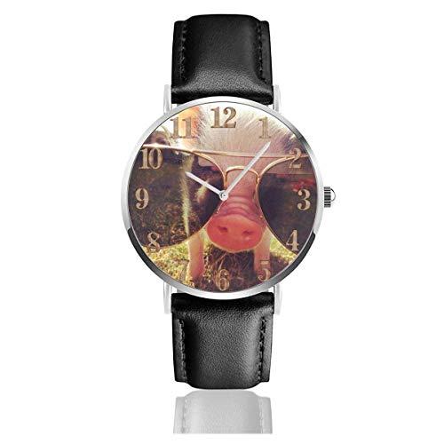 Pet Pig Sonnenbrille Clo Uhren PU Leder Armbanduhr Life Silence Quarzuhr mit silbernem Edelstahl